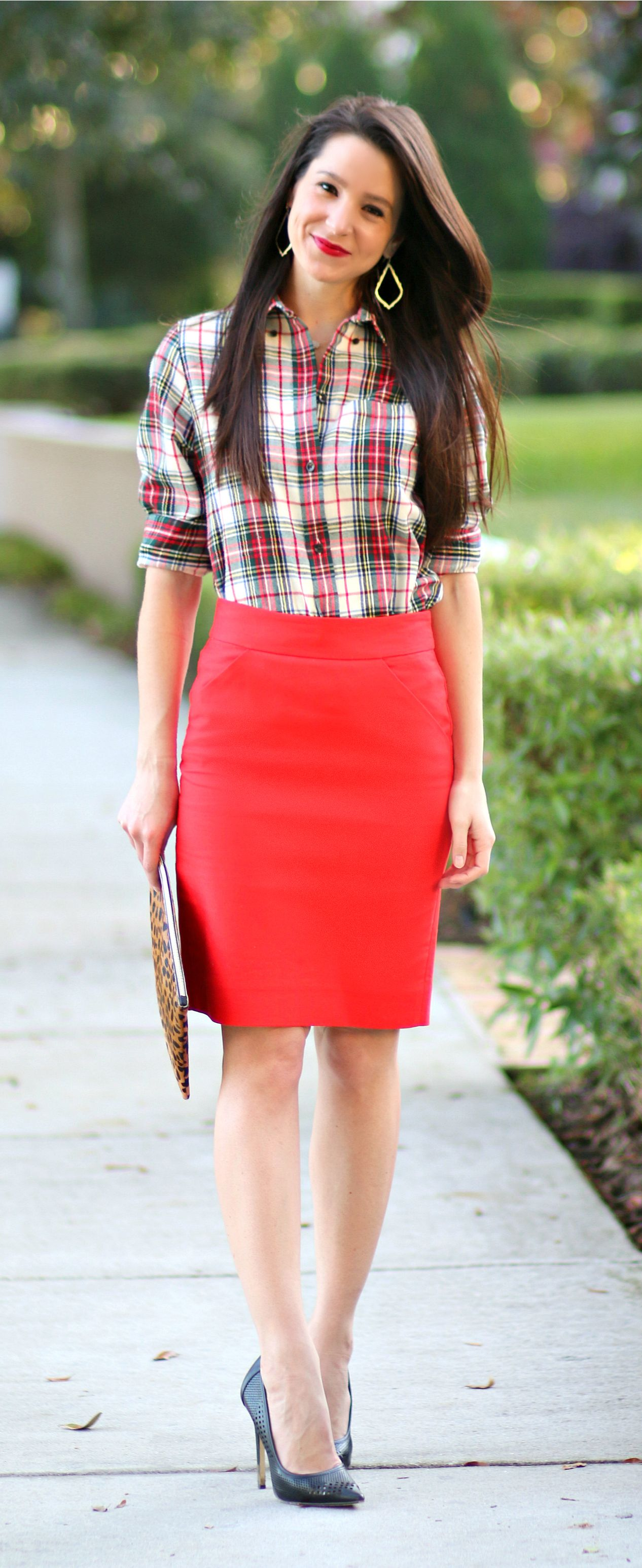 6b2f9afd32 How to wear a red pencil skirt to work in December! Love this festive  holiday