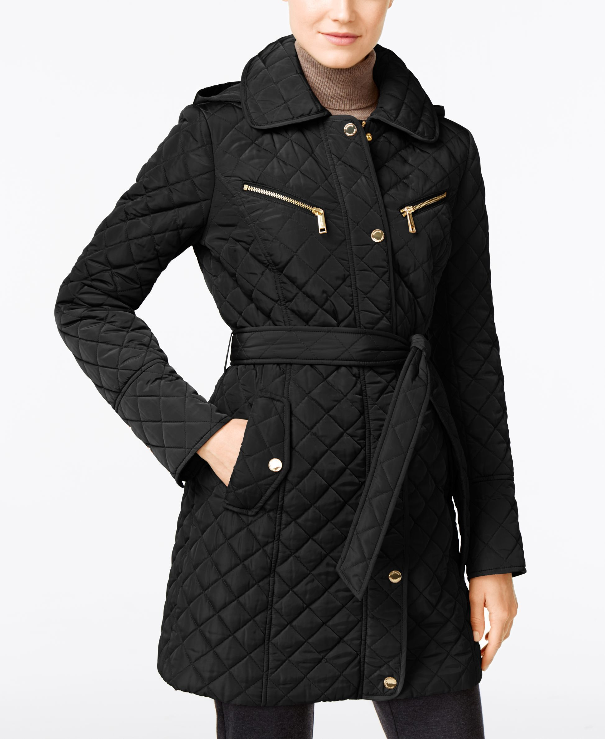 ad383975930 Women s Black Hooded Quilted Belted Jacket