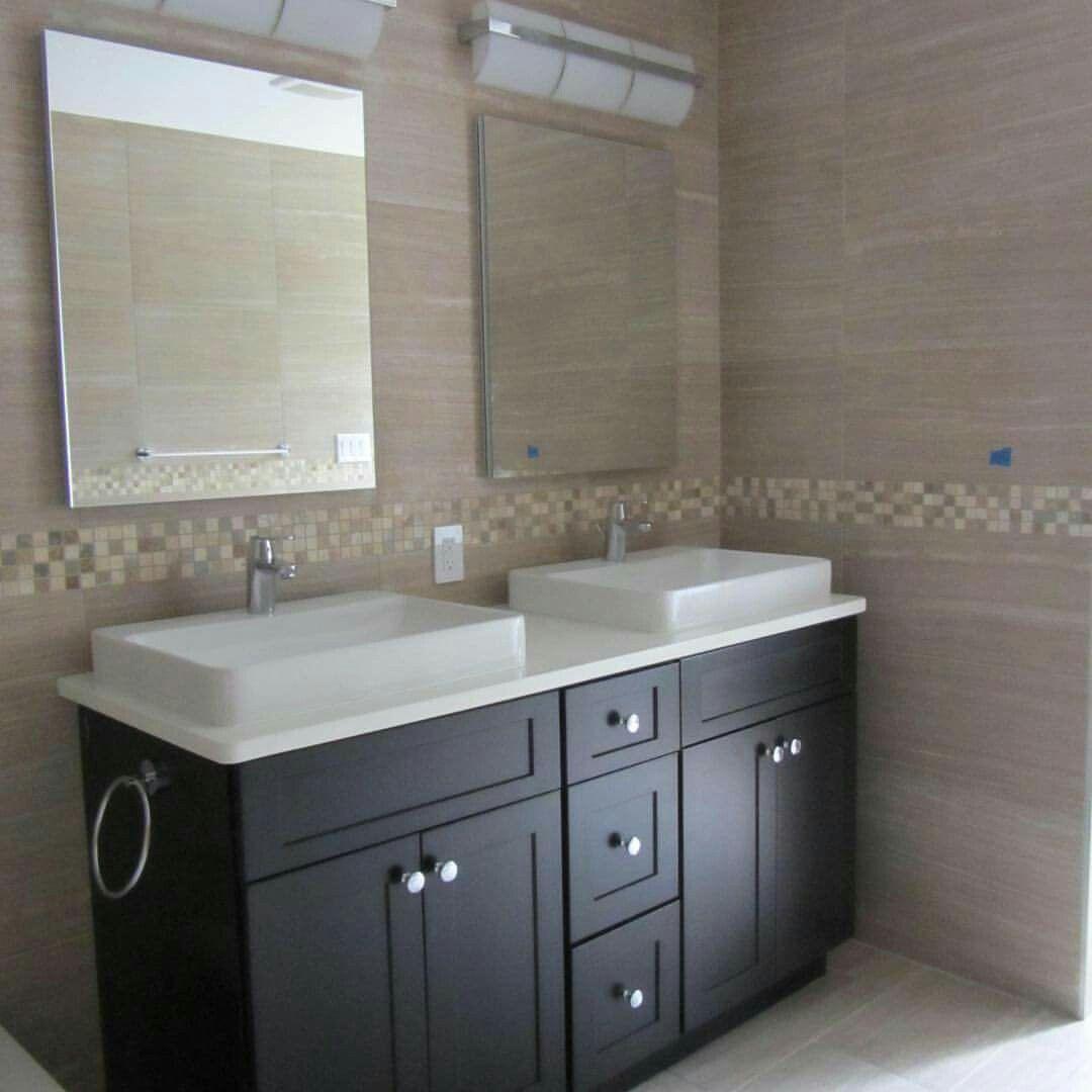 Modern bathroom java with white countertops | Modern ...