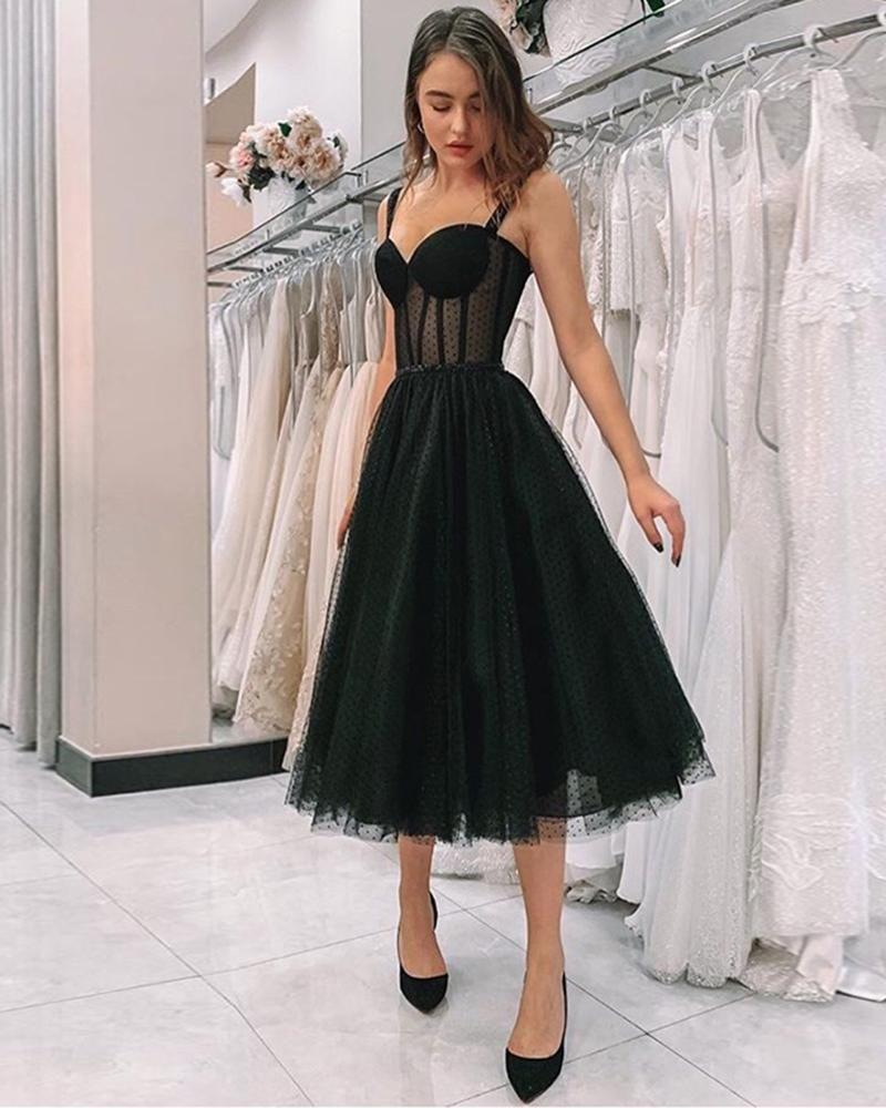 Elegant Girls Formal Gown Dot Black Tulle Tea Lenth Short Prom Homecoming Dresses With Straps Pl4744 Prom Dresses Sleeveless Polka Dot Evening Dresses Black Prom Dress [ 1000 x 800 Pixel ]