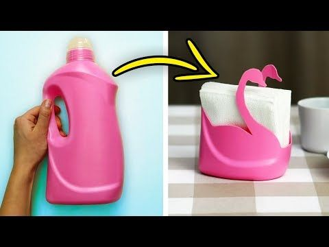 25 AWESOME DIYS FROM PLASTIC BOTTLES - YouTube #recycledcrafts
