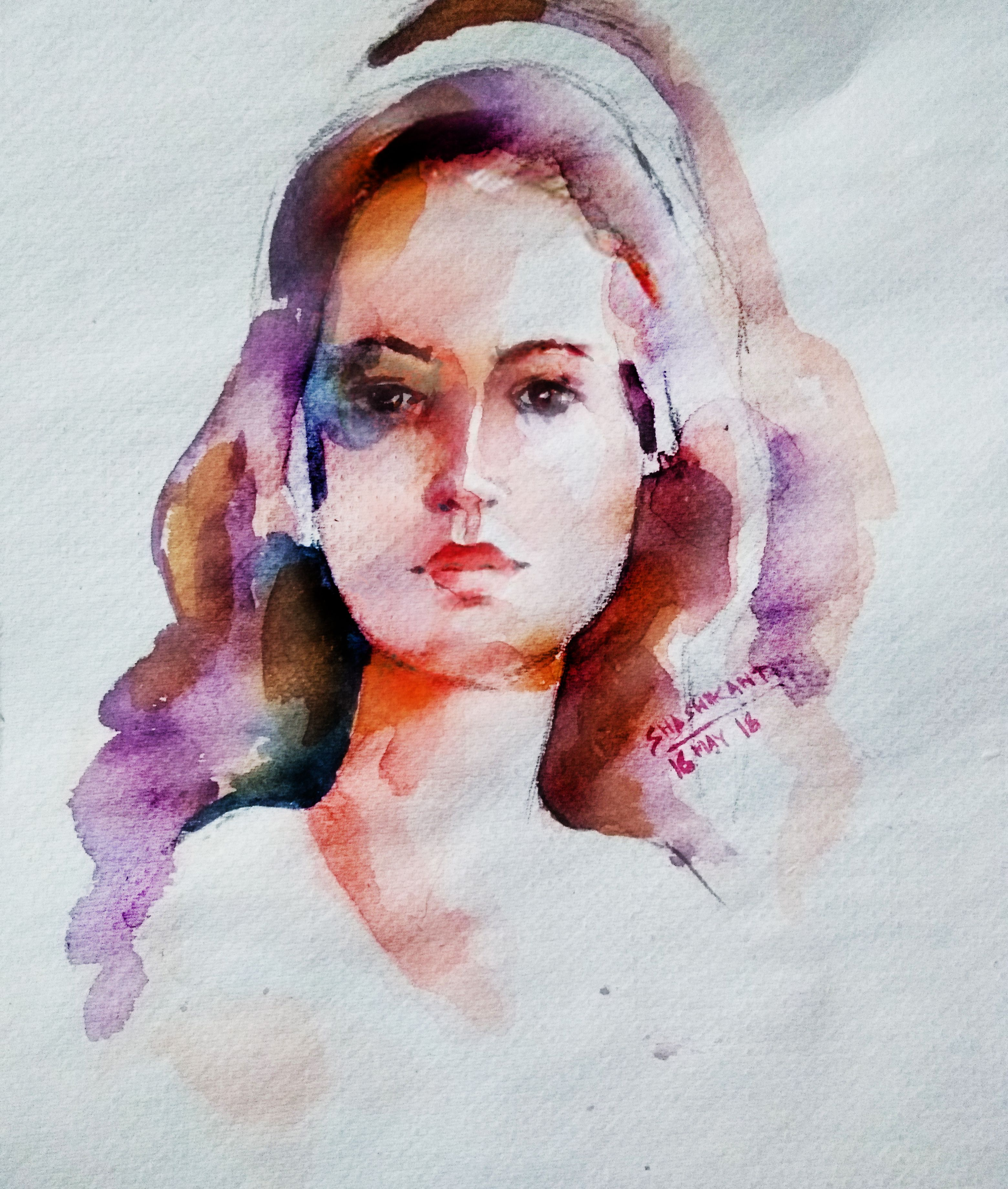 Watercolor Flow Portrait Of A Girl Watercolour Lady Face