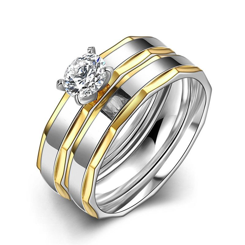 Top quality 316L stainless steel Zircon engagement finger ring for