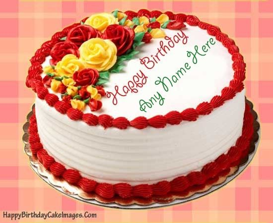 Write Name On Rose Birthday Cake Picture