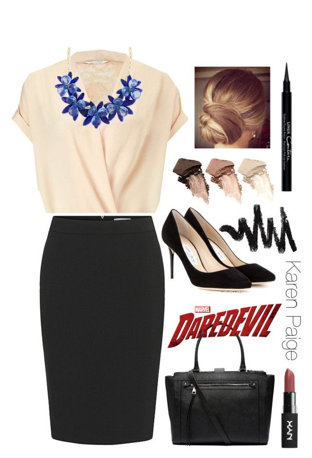 """""""Marcel's Daredevil: Karen Paige"""" by stellabear0627 on Polyvore featuring Miss Selfridge, Kate Spade, Jimmy Choo, Witchery, Givenchy and Urban Decay"""