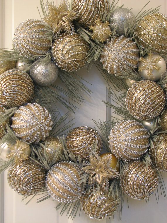 Elegant Christmas Ornaments.Gold Glitter Ornament Christmas Wreath By