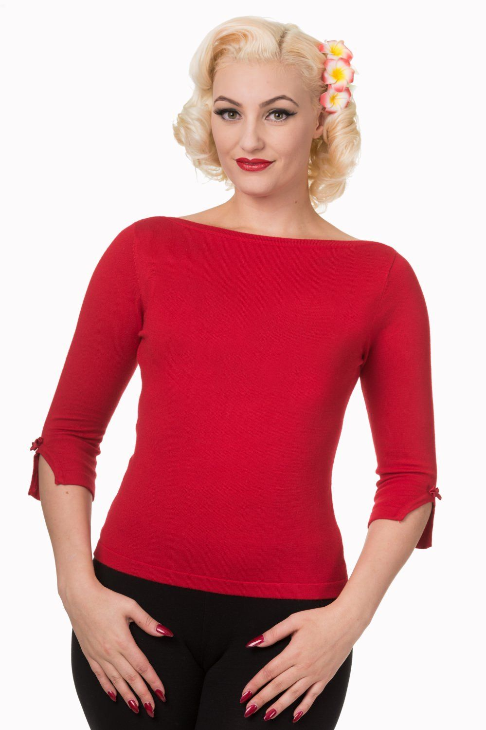 Red Vintage 50/'s Rockabilly Blouse Retro Addicted Sweater Top Banned Apparel