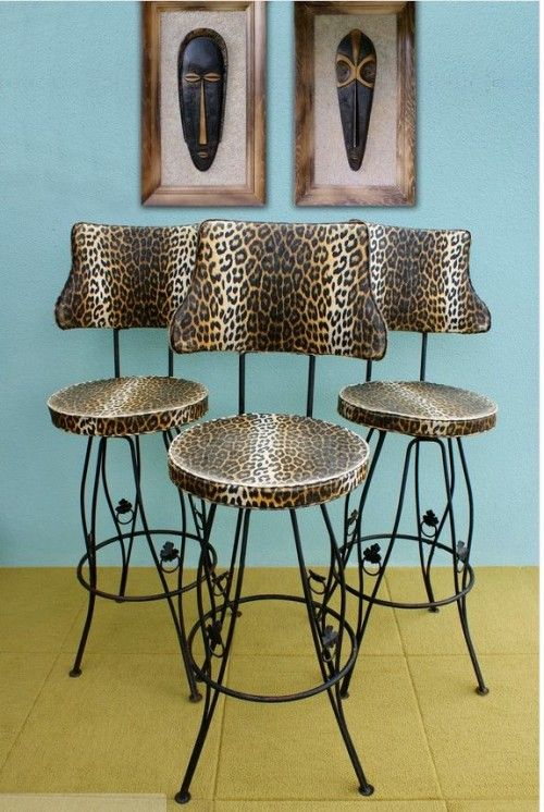 Leopard Vinyl Wrought Iron Tiki Barstools 300 For The Set Plus If You Use Retro Code I Had My Florida Condo Would These