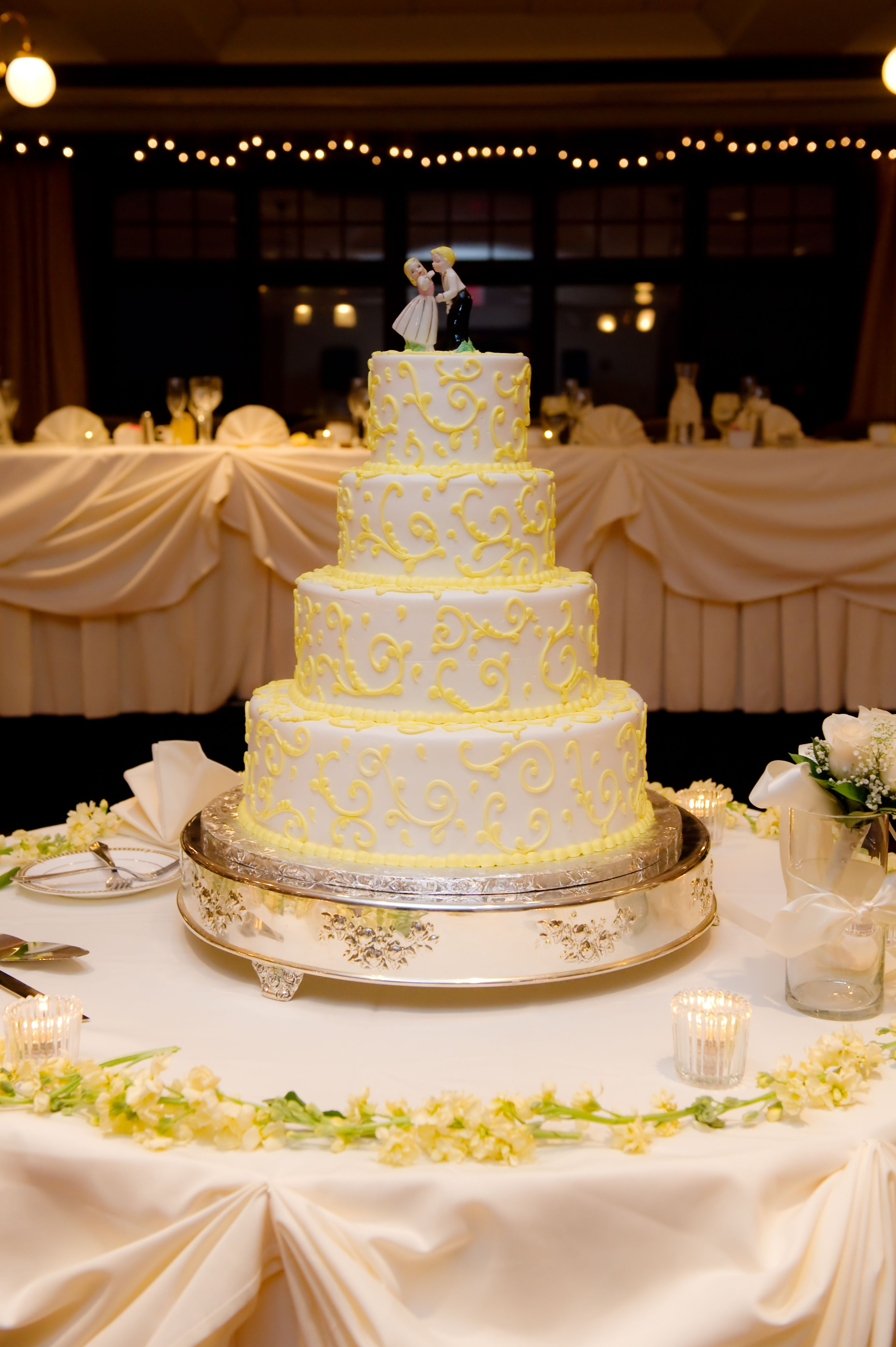 Yellow Paisley Wedding Cake Continental Bakery | Our Wedding ...