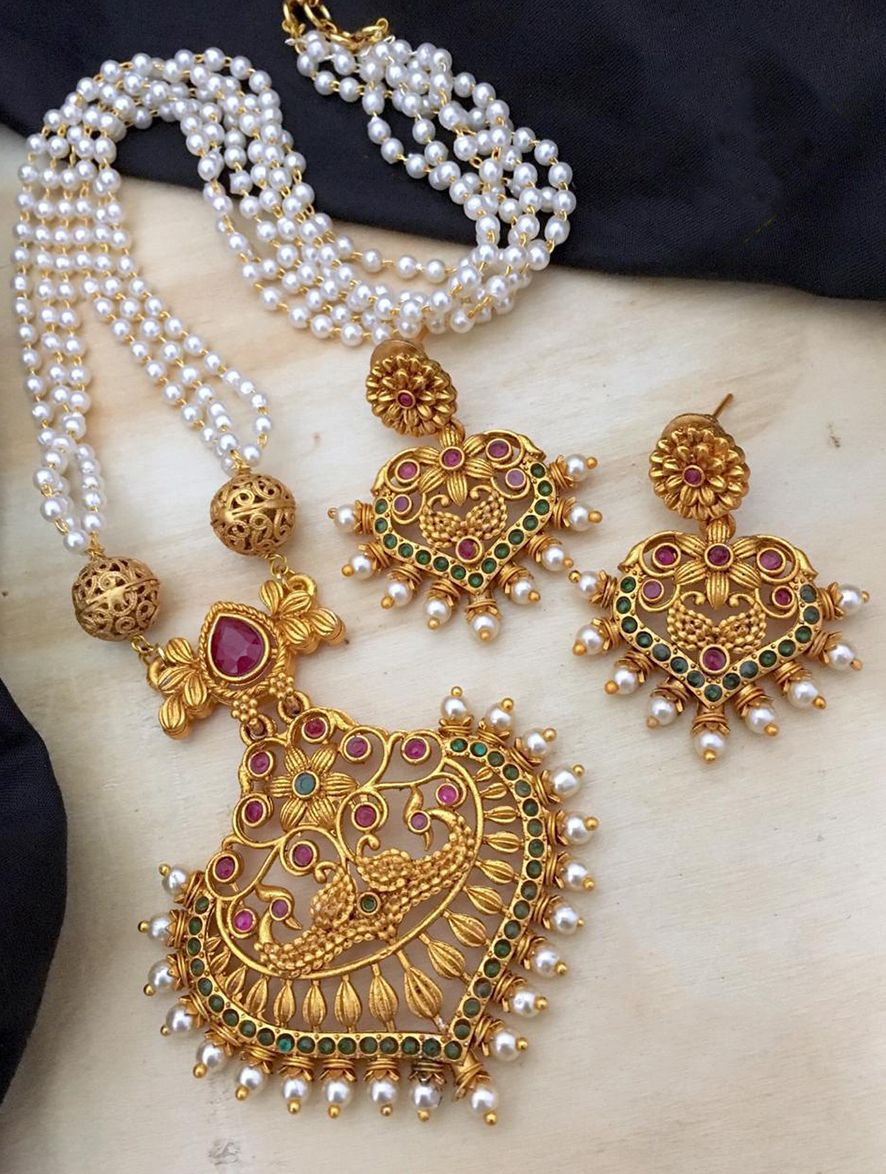 South Indian Jewelry Designer High Quality Antique Gold Plated Kundan /& Pink Ruby Stones Peacock Coin Design Pearls Studded  Necklace Set