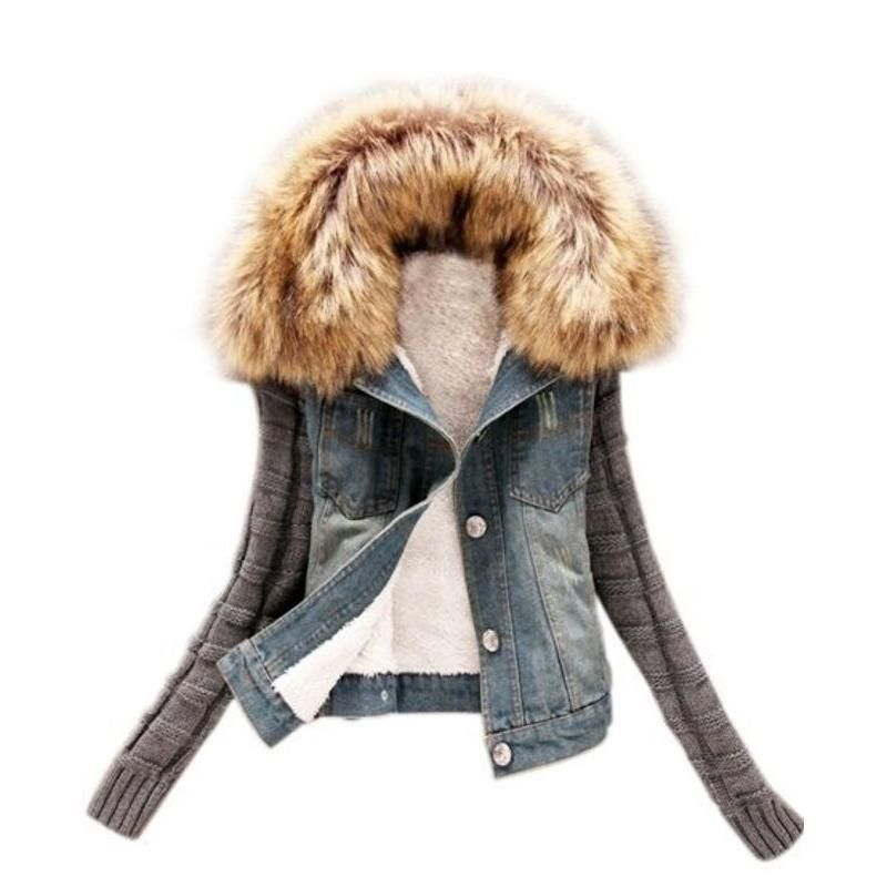 Patchwork Fur Collar Stylish Overcoat Con Imagenes Chaqueta Impermeable Mujer Ropa Chaquetas
