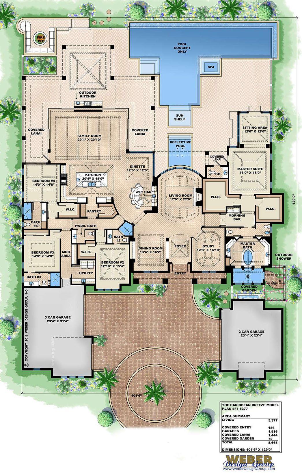 Caribbean House Plan 1 Story Contemporary Beach Home Floor Plan Dream House Plans House Plans House Floor Plans