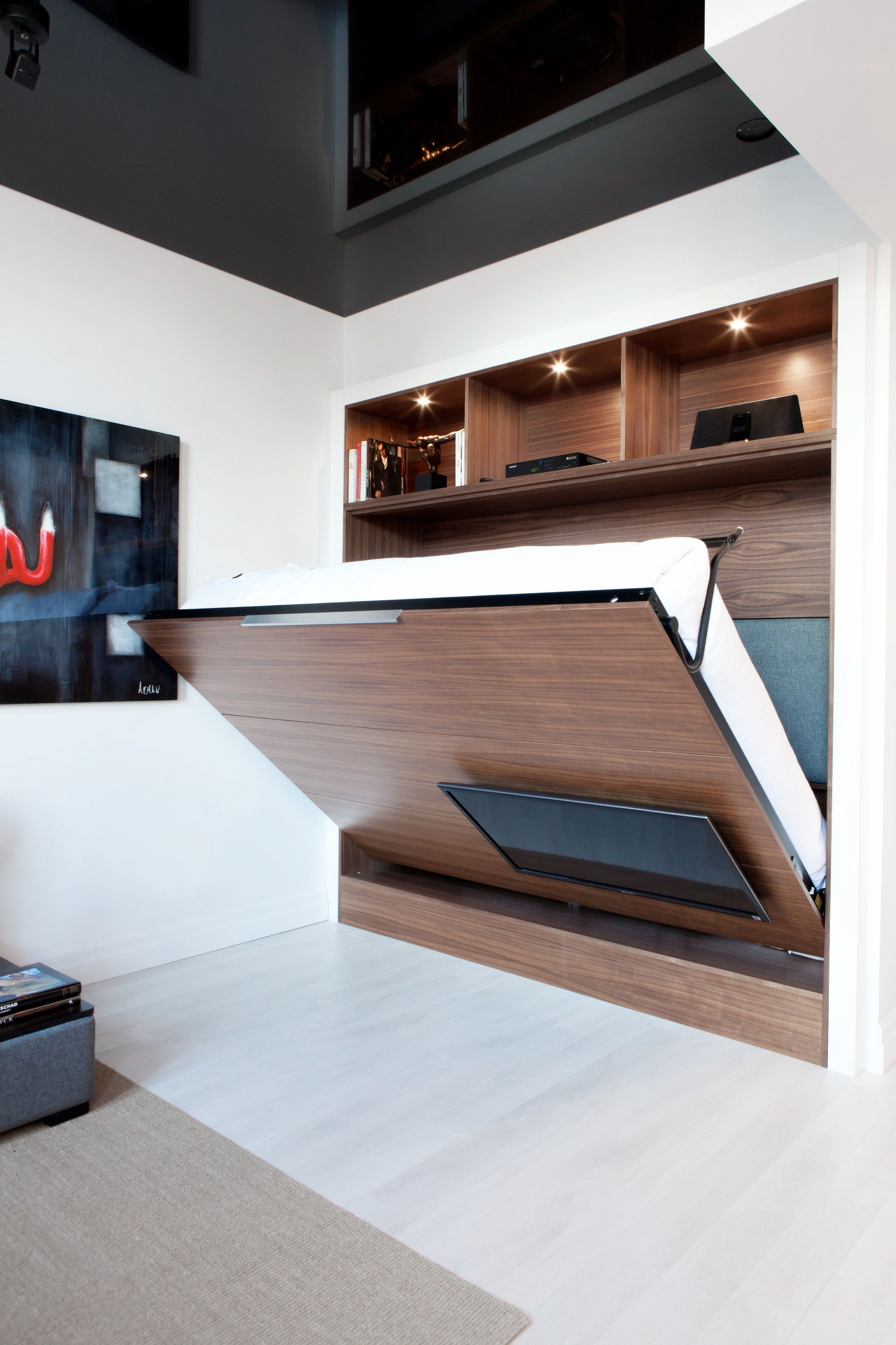 unit tv mural dissimule lit escamotable good idea pinterest tv murale lit escamotable et. Black Bedroom Furniture Sets. Home Design Ideas