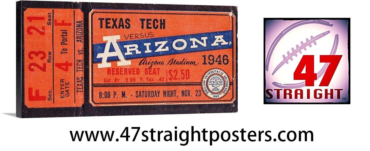 1946 Arizona vs. Texas Tech football ticket art on canvas