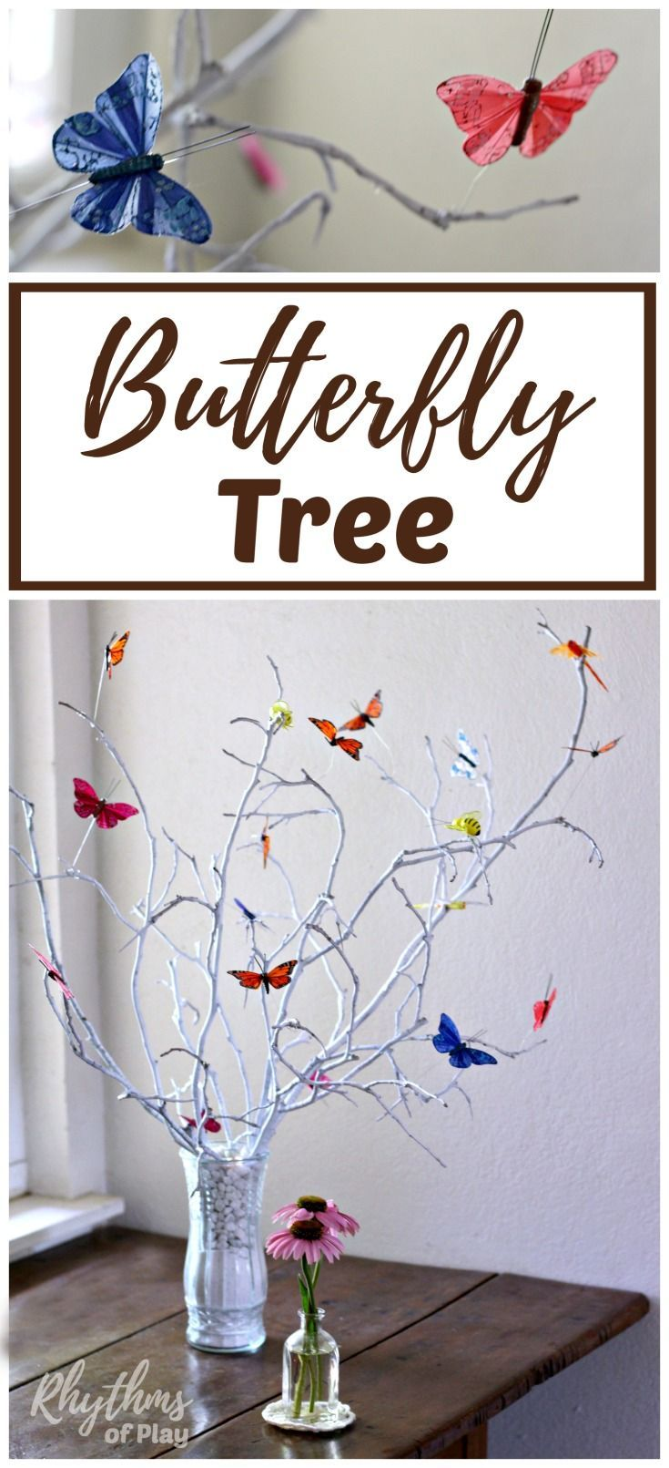 A DIY butterfly tree centerpiece is an easy craft that makes a lovely addition to your home decor or summer nature table. #style #shopping #styles #outfit #pretty #girl #girls #beauty #beautiful #me #cute #stylish #photooftheday #swag #dress #shoes #diy #design #fashion #homedecor