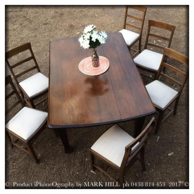 Vintage Retro Dining Table And Six Chairs