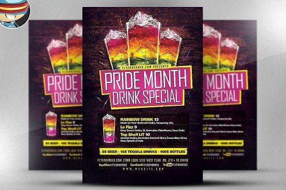 pride drink special flyer template by flyerheroes on