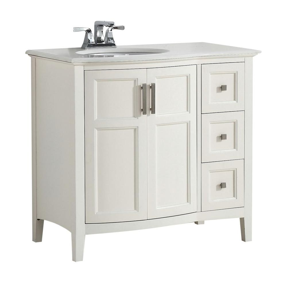 Simpli Home Winston Rounded Front 36 In Bath Vanity In Soft White