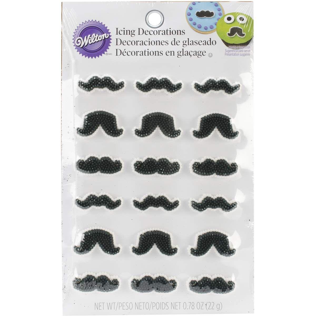 Icing Decorations 18/Pkg-Mustache Shapes