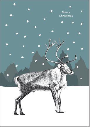 Rentier Im Schnee Bleistiftzeichnung Graphik Rentiere