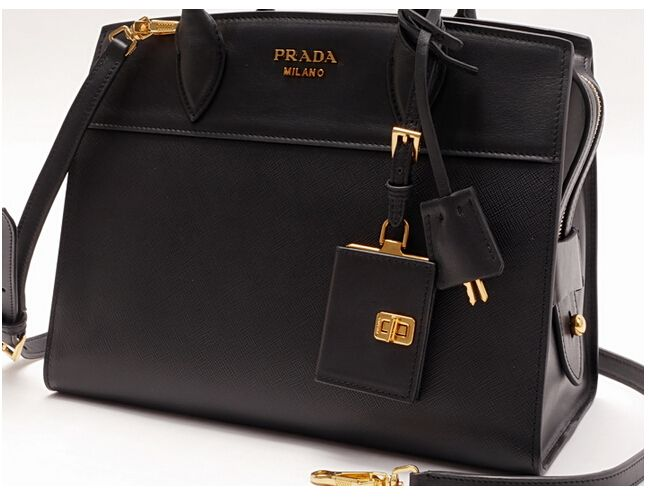 Discount Prada Esplanade Saffiano and calf leather bag black 070e58d246eee