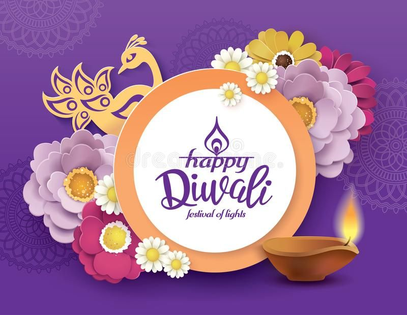 Happy Diwali Diwali Festival Greeting Card With Beautiful Blossom Flowers And D Sponsored Greeting Card Festival Happy Diwali Diwali Diwali Festival