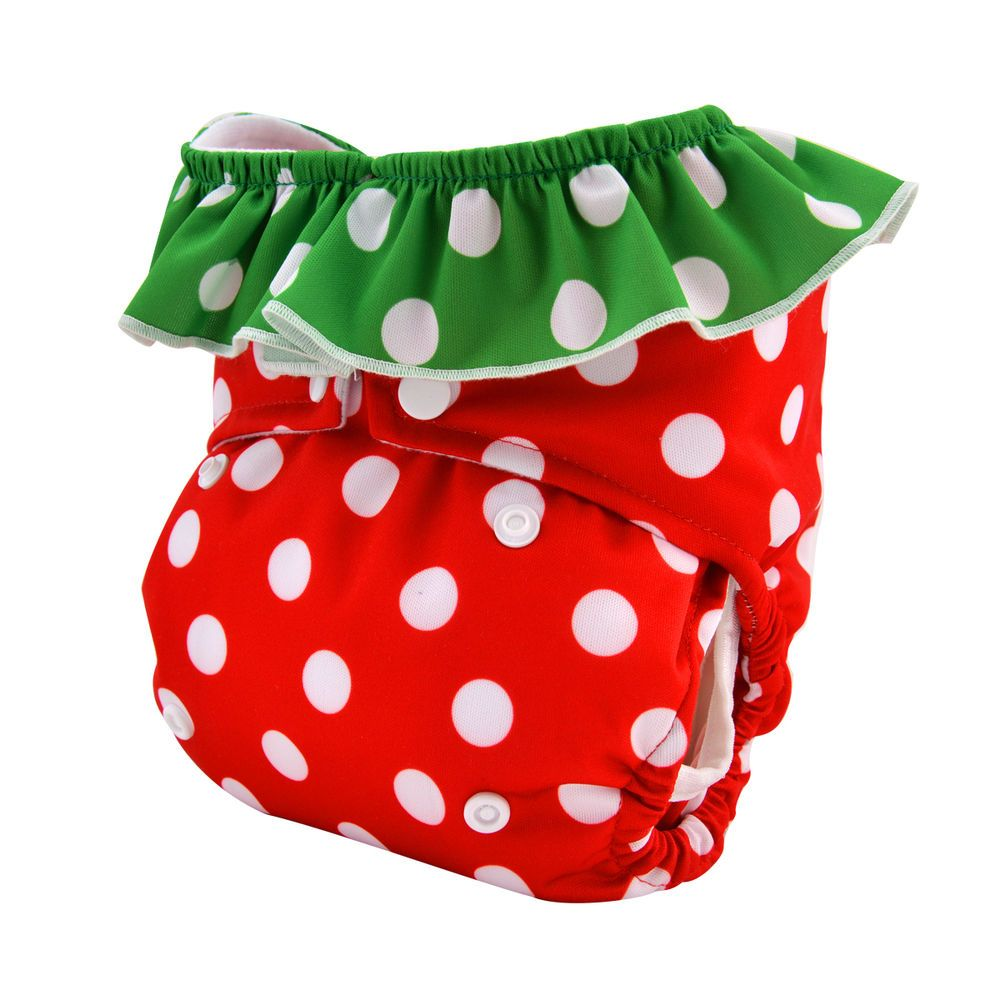 Alva Cloth Diaper Double Gusset Strawberry Reusable Pocket Nappy For