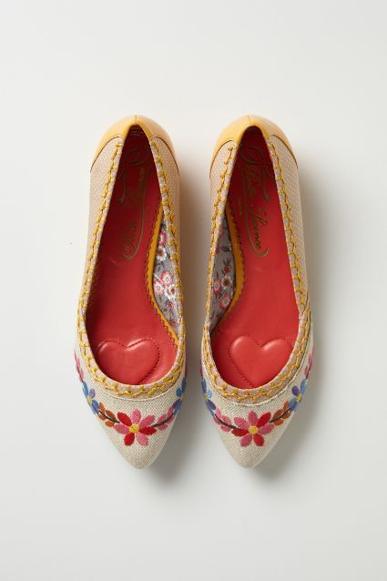 Posy-Stitched Skimmers - anthropologie.com