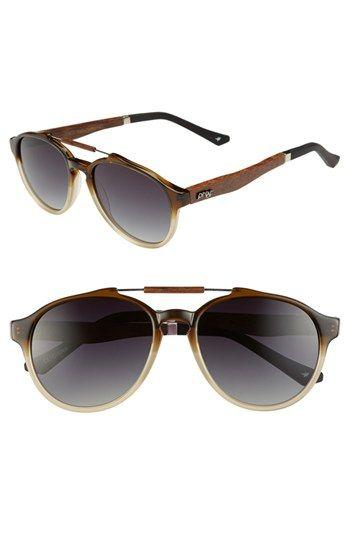 Proof Eyewear 'Chinook' 51mm Polarized Wood Temple Aviator Sunglasses | Nordstrom