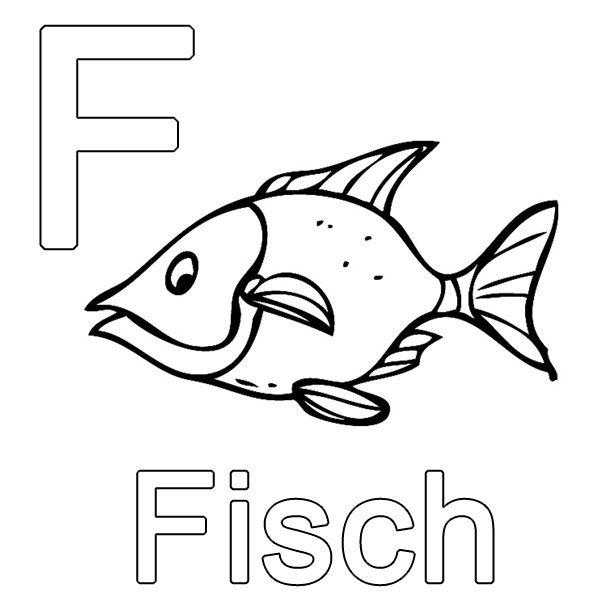 Ausmalbild Buchstaben lernen: Kostenlose Malvorlage: F wie Fisch