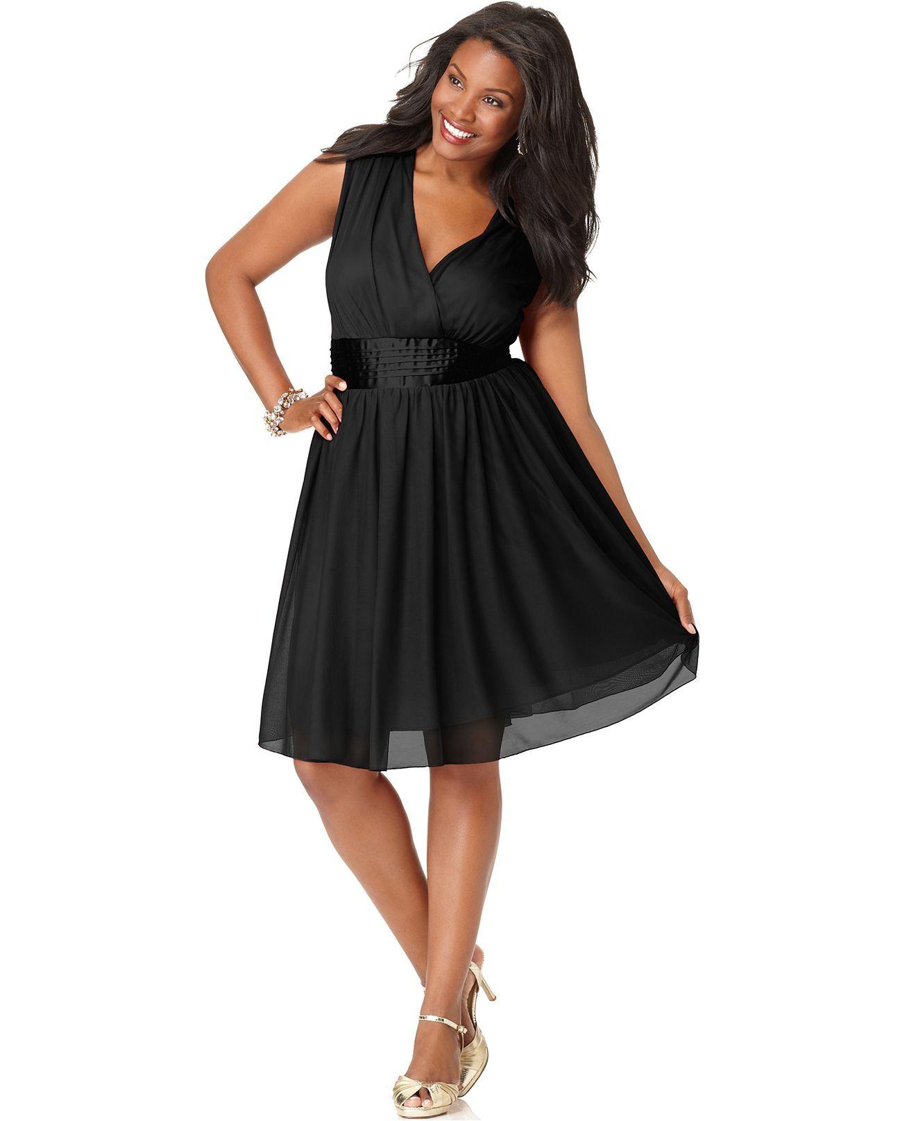 Trixxi Plus Size Prom Dress, Sleeveless Banded Empire A