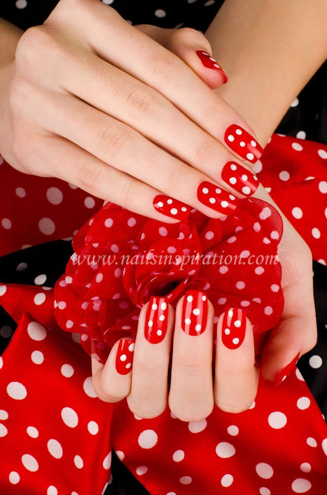 classy Red nails design with white dot www.nailsinspiration.com ...