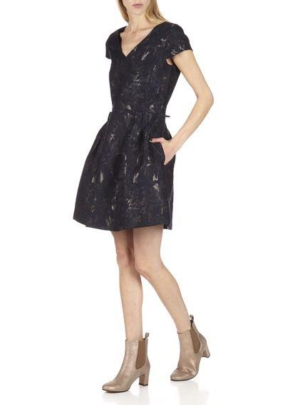 Robe Jacquard Evasee Birly Bleu By Comptoir Des Cotonniers Robe Jacquard Idees Vestimentaires Idees De Mode