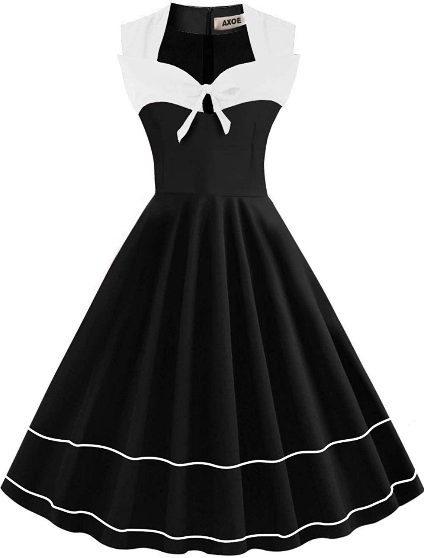 Axoe Damen 17er Jahre Polka Dot Retro Vintage Rockabilly Kleider