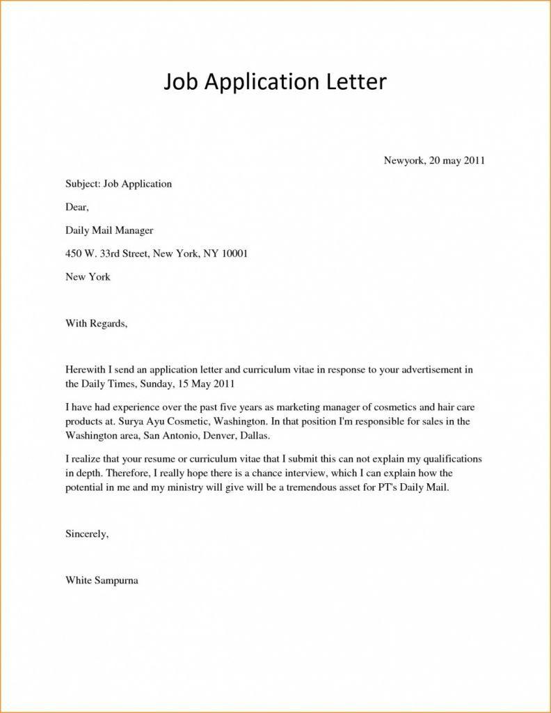 Fresh Basic Cover Letter Sample Download | Simple job ...