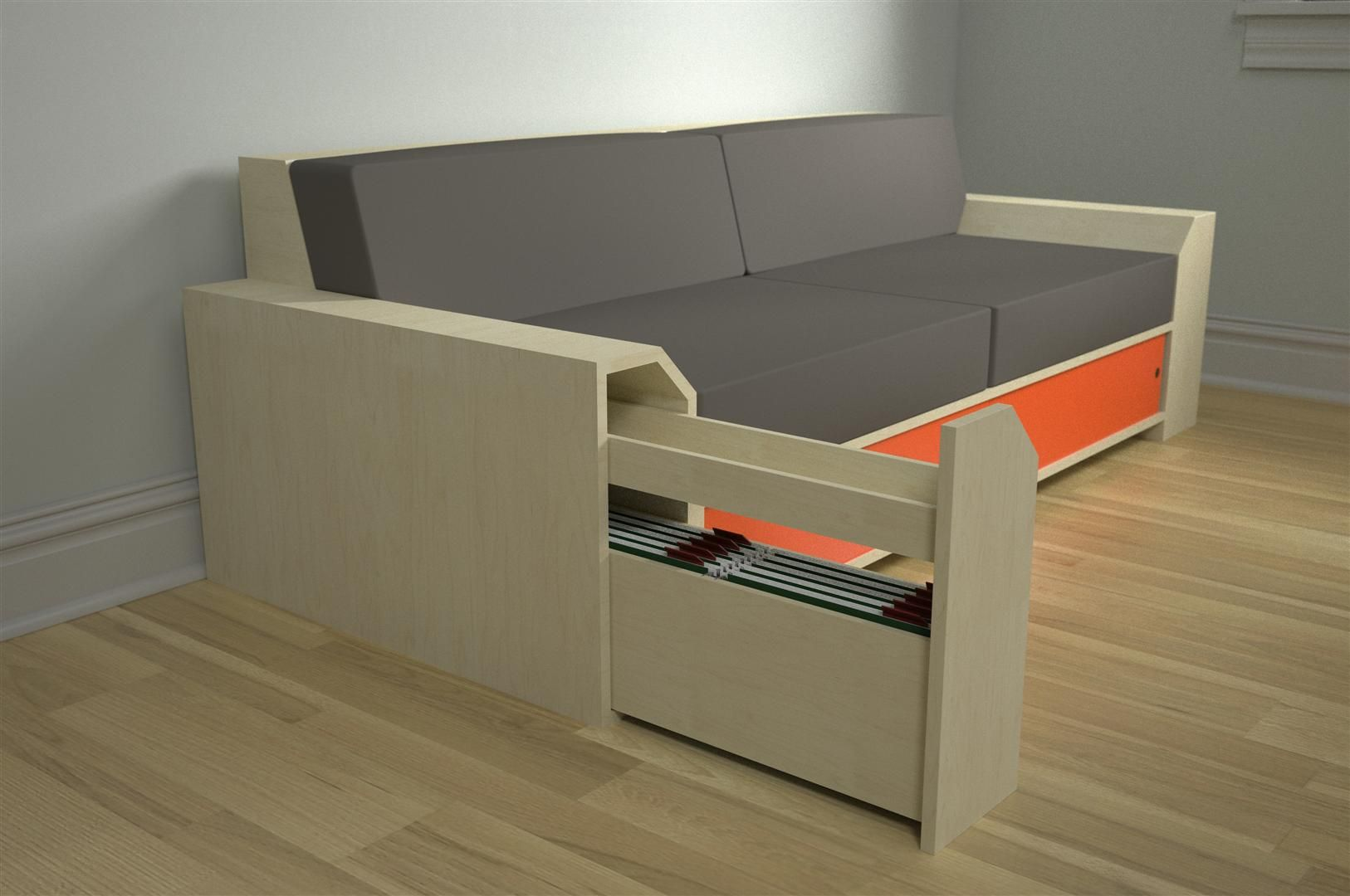 """Modular Storage Seating- concept I'm working on, all parts are modular and interchangeable, and designed to add storage to a piece that usually ignores it, the sofa.     Ends can be bookcases, or pull out drawers for storage or files, base can be sliding door cabinet, drawers, fold out bed. No back makes it a day bed.    It's sort of based on the premise that """"working at home"""" often means """"working on the couch,"""" and the problem with that is there's nowhere to put all your crap.    Thoughts?"""