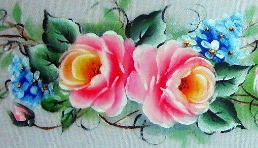 Pintura em Tecido, Como fazer, Passo a passo, Riscos e muitas dicas.: Pintura em Tecido Rosas Barrado