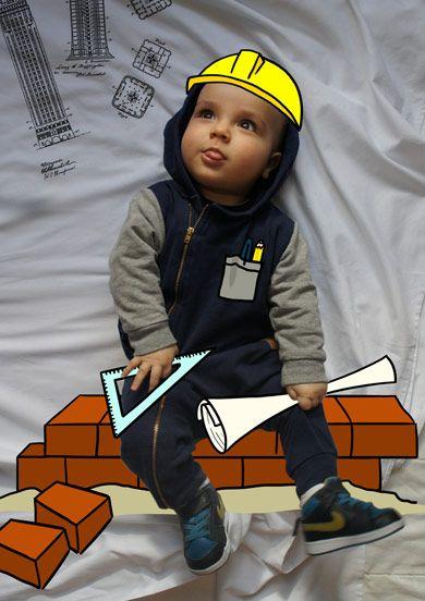 León de Mayor Quiere Ser Arquitecto. Fotografia & Ilustración Creativa de bebés y niños soñadores. bebé baby