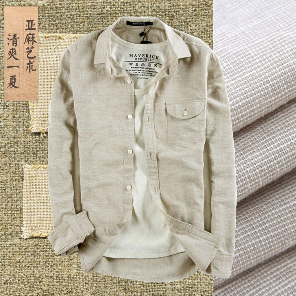 64b63c13a2 Summer casual shirt male hemp breathable long-sleeve vintage linen shirt  fluid thin slim men s clothing grogram clothing