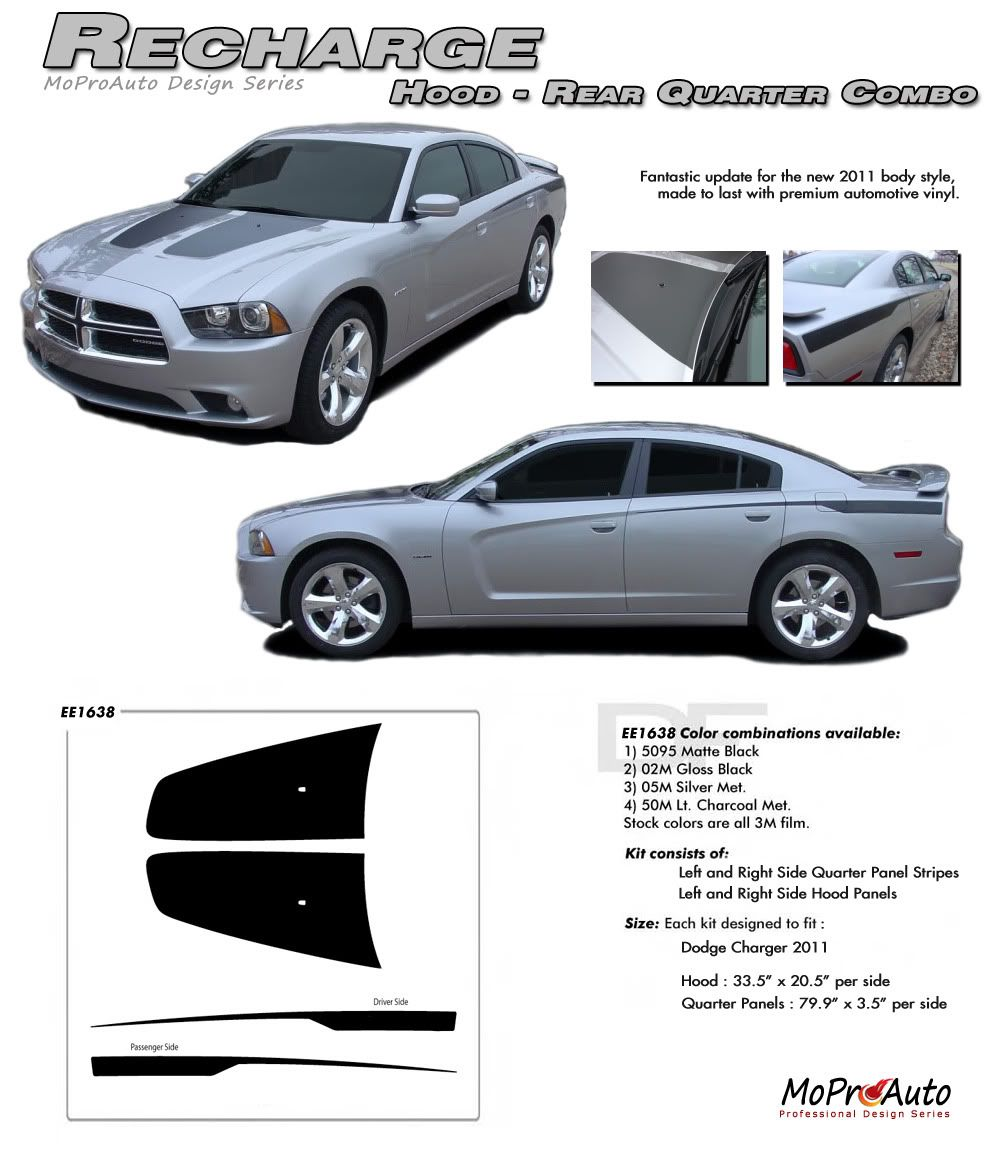 Hood Inner Blackout Stripes for 2011-2014 Dodge Charger