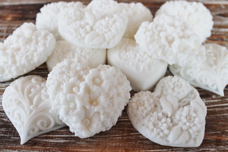 20 White Heart Soap Favors: Wedding Favors, Birthday Favors, Beach ...