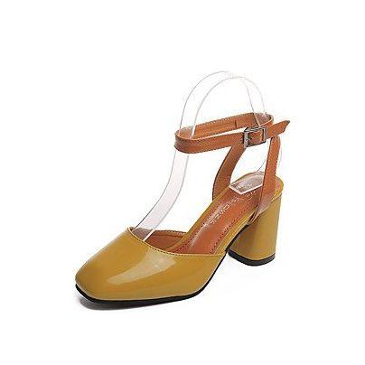 LvYuan-ggx Damen High Heels Komfort Pumps PU Sommer Normal Kleid Walking Komfort Pumps Glitter Schnalle Blockabsatz Gold Weiß Schwarz 7,5 - 9,5 cm , black , us5.5 / eu36 / uk3.5 / cn35