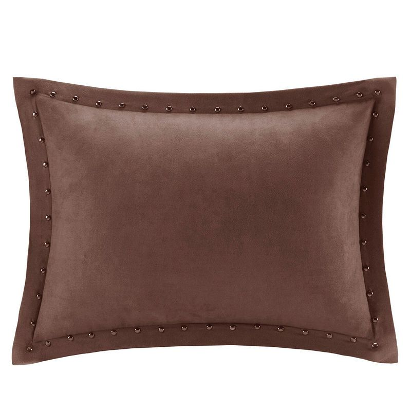 Madison Park Alban Stud Trim Microsuede Oblong  Pillow
