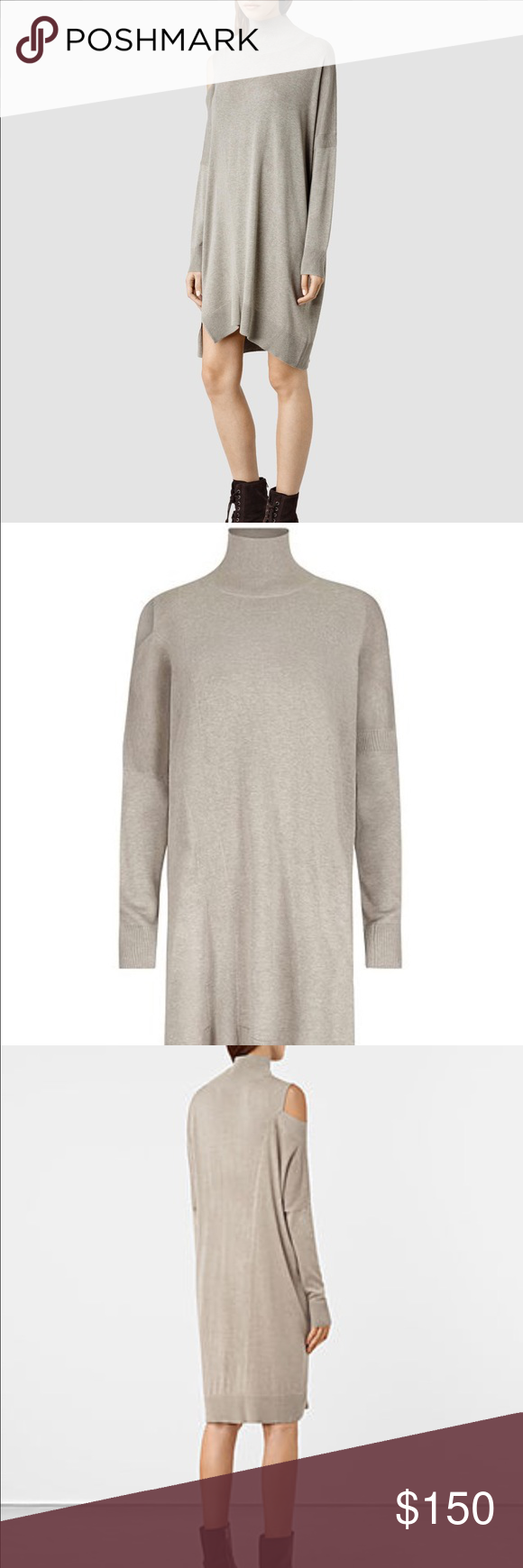 Brand new all saints cecily cut out dress roll neck hand washing