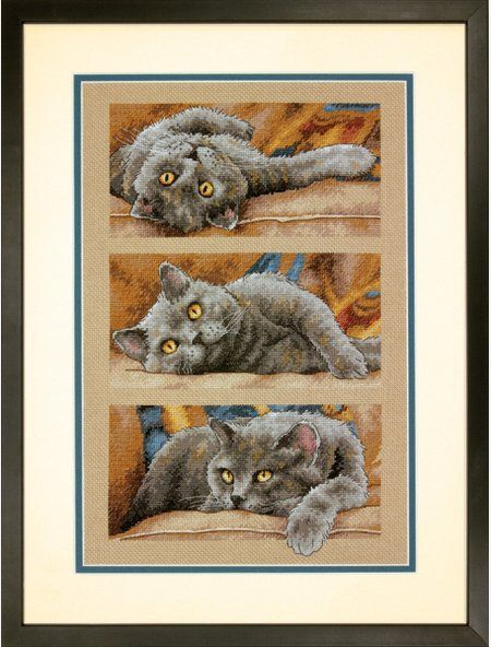 2 Counted Cross Stitch Kits CHARMING ~ FELINE LOVE Dimensions Gold Collection