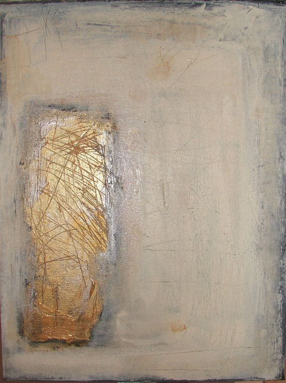 Abstract contemporary art original modern metallic gold for Neutral gold paint color