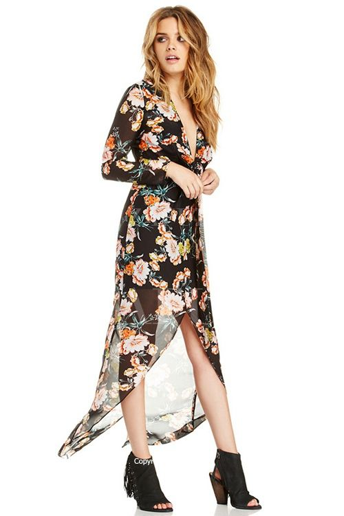 Plunging Neck Floral Print Tie-Up Slit Dress wear with tank for breast feeding