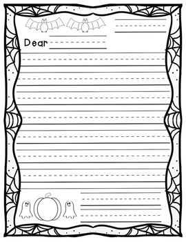 Letter Writing Template Halloween Theme Letter Writing
