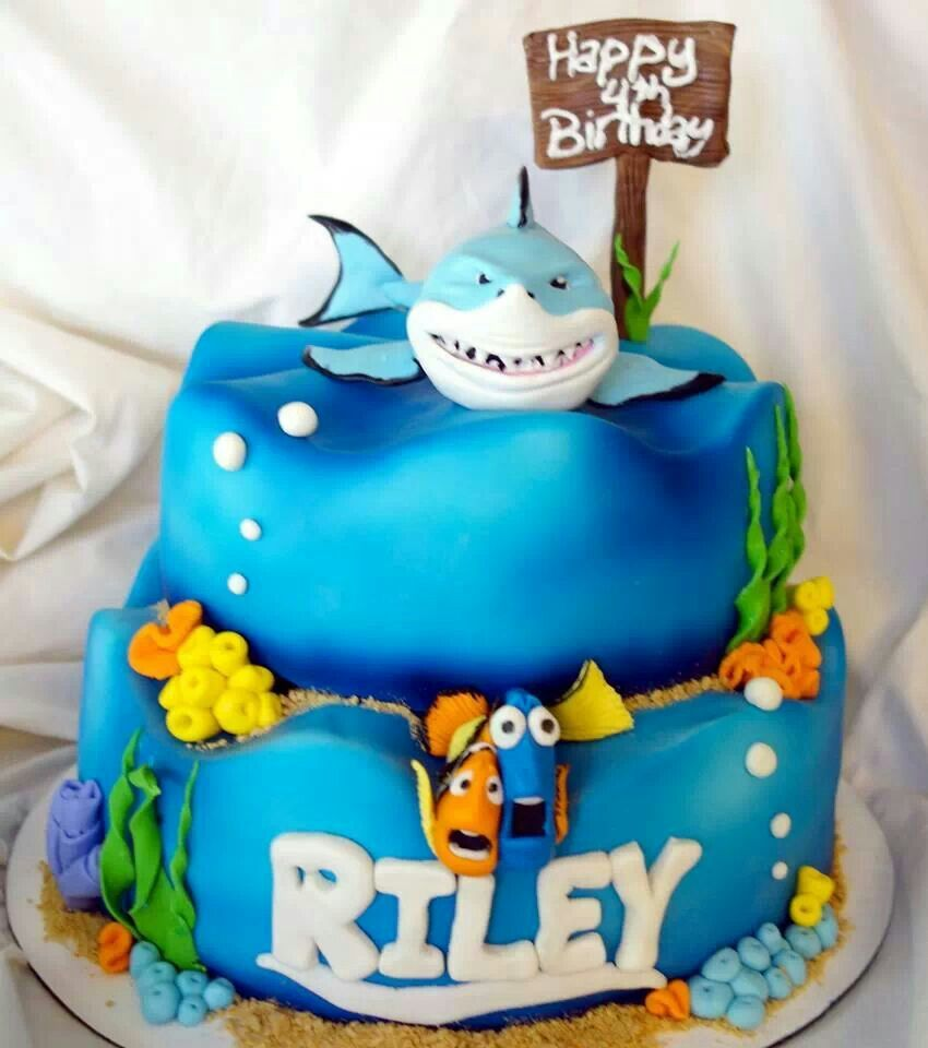 Finding Nemos Bruce Cakes Pinterest Cake And Recipes - Nemo fish birthday cake
