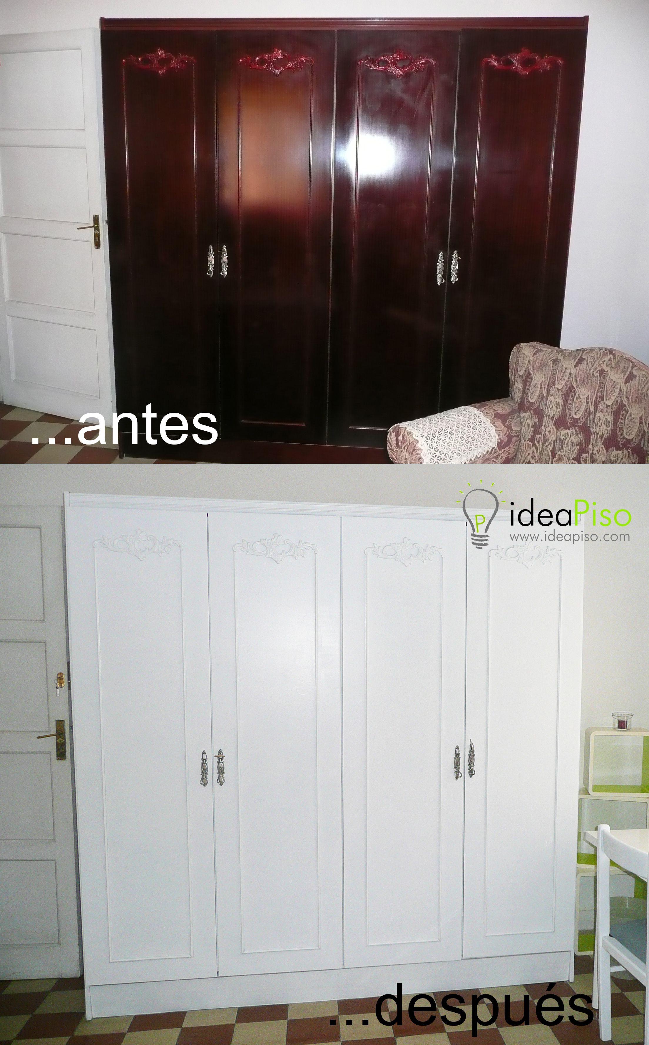 Simplemente Pintar De Blanco El Armario Cambia Completamente La Decoracion Y Estilo De La Hab Restauracion De Muebles Muebles Habitacion Como Restaurar Muebles